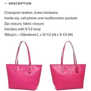 Coach Top Zip Pink Ruby Crossgrain Leather Tote